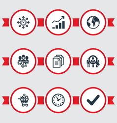 Set of simple strategy icons vector