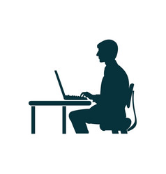 Silhouette a man sitting at a computer vector