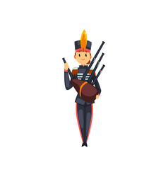 Soldier playing bagpipes member of army military vector