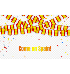 spain garland flag with confetti on transparent vector image
