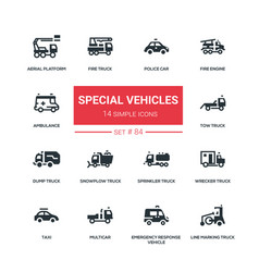 Special vehicles - flat design style icons set vector