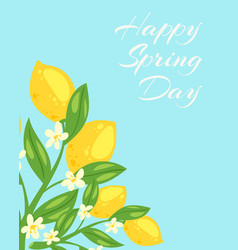 spring day blossom lemons flowers and fruits vector image