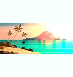 Sunset on tropical beach landscape summer seaside vector