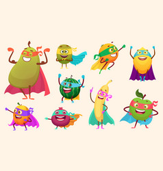 superheroes fruits collection characters healthy vector image