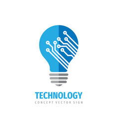 technology lightbulb - concept logo design vector image