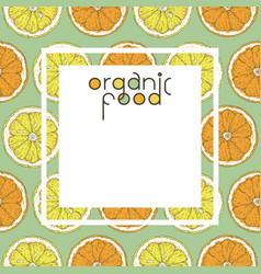 template card with orange and lemon slice vector image