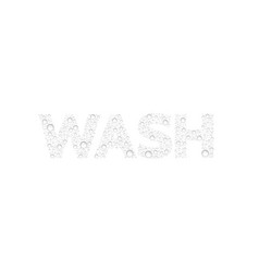 Text from droplets texture word wash vector