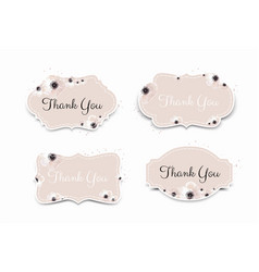 thank you card in pink colors stylish floral vector image