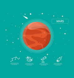 The mars infographic in universe concept vector
