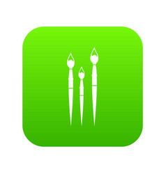 three brushes for painting icon digital green vector image