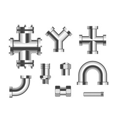 tubes or pipes plumbing pipeline connectors vector image