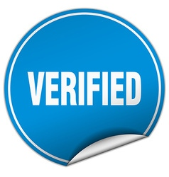 Verified round blue sticker isolated on white vector