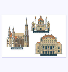 vienna landmarks and monuments isolated on white vector image