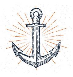 Vintage anchor hand drawn sketch logo vector