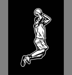 Vintage retro player jump and do dunk with two vector