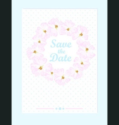 wedding card with pastel pink roses vector image