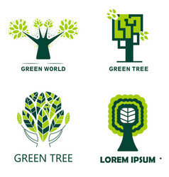 woodland and green tree isolated icons ecology and vector image