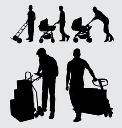 Worker gesture silhouette vector
