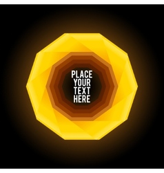 Yellow decagon shape on dark background vector