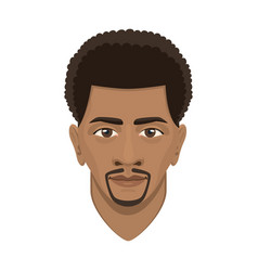 Young afro man avatar character male face portrait vector