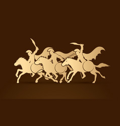 3 spartan warriors riding horses with weapon vector image vector image