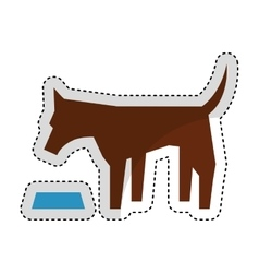 Cute dog mascot eating isolated icon vector