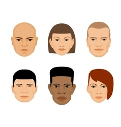 set of human faces different gender and ethnicity vector image vector image
