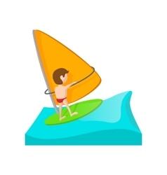 Yacht racing cartoon icon vector image