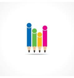 Colorful pencils make family icon vector image