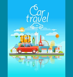 Dirrefent world famous sights Modern cityscape vector image vector image