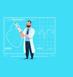 doctor holding syringe medical clinics worker vector image