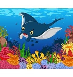 funny stingray cartoon with beauty sea life backgr vector image vector image