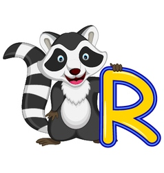 raccoon cartoon posing vector image vector image
