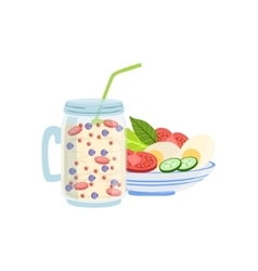 Smoothie And Salad Breakfast Food Drink Set vector image vector image