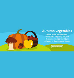 autumn vegetables banner horizontal concept vector image