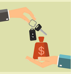 car rental or sale concept hand holding car key vector image