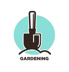 gardening logo design with spade and ground on vector image vector image