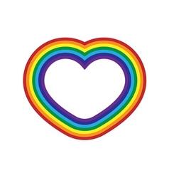 Rainbow icon heart flat vector image vector image