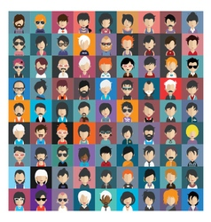 Set of people icons in flat style with faces 16 b vector image vector image