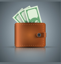 wallet dollar money - realistic icon vector image