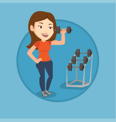 woman lifting dumbbell vector image