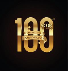 anniversary retro vintage badge 100 vector image vector image