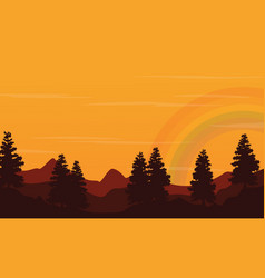 at sunset hill landscape with rainbow silhouette vector image