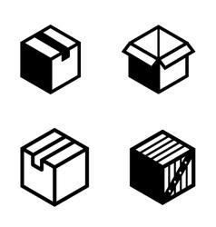 black boxs pictogram icons set vector image vector image