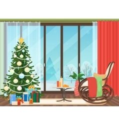 Christmas livingroom flat interior with rocking vector image