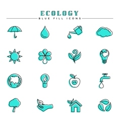 Ecology blue fill icons set vector image vector image