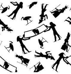 egyptian seamless hieroglyphs pattern vector image
