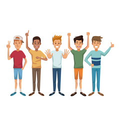 White background with colorful male group vector