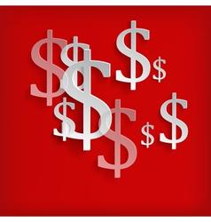 White dollar symbols on red background vector image