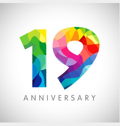 19 anniversary colorful facet logo vector